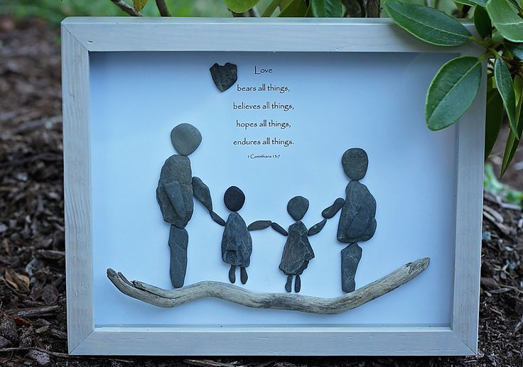 Family of 4 with scripture. Pebble Art by www.saltandpebbles.com