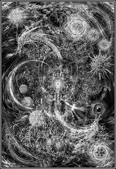 Yog-Sothoth, from The Haunter of the Dark by John Coulthart, discovered via Coilhouse.net