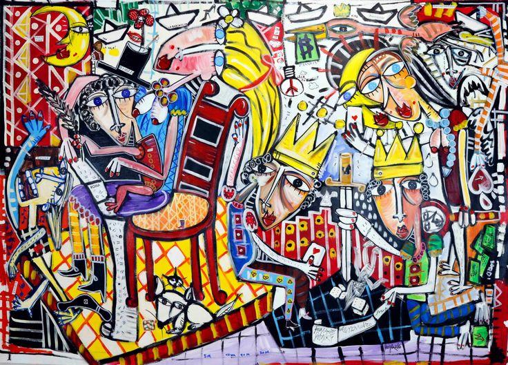 Dipinto moderno olio su tela pop art arte contemporanea for Casa contemporanea arredamento