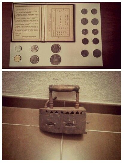 Las antiguas pesetas y una plancha de carbón de antaño. #dia12 #15dias15fotos #reto
