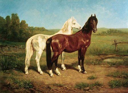 """Rosa Bonheur(French, 1822–1899)American Mustangsafter 1885oil on canvas, 8 3/4"""" x 39 1/2""""Gift of Howard W. Lyon"""