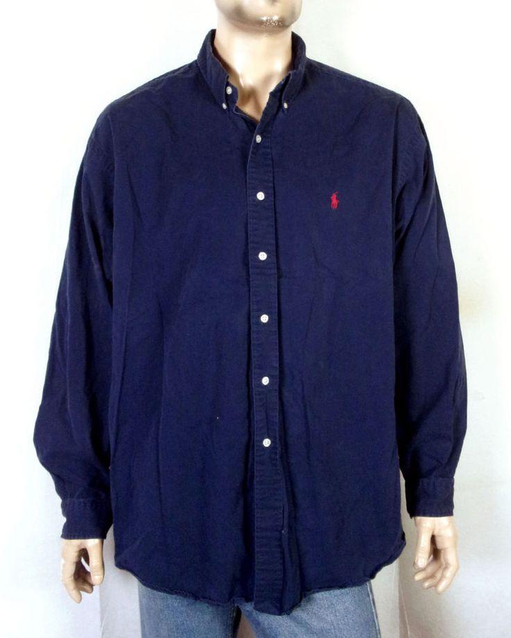 vtg 90s euc Polo Ralph Lauren Navy Blue Textured Brushed Cotton Dress Shirt XXL #PoloRalphLauren