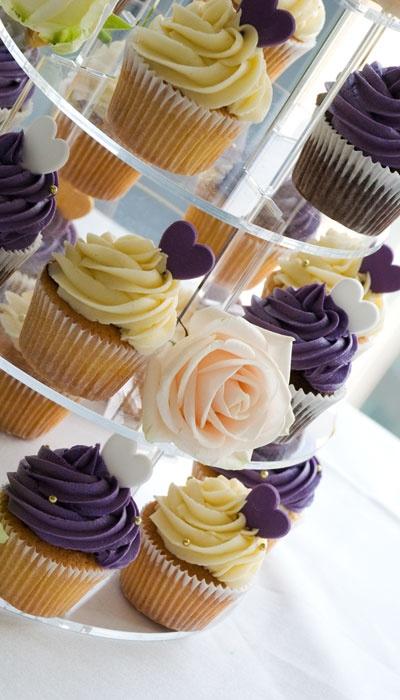 Purple & Cream Engagement Cupcake Tower