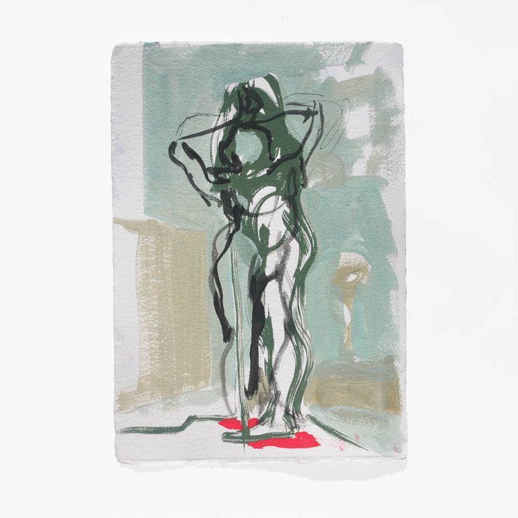 Brendan O'Donnell – Standing figures, 2014, Gouache on paper, 30cm x 30cm
