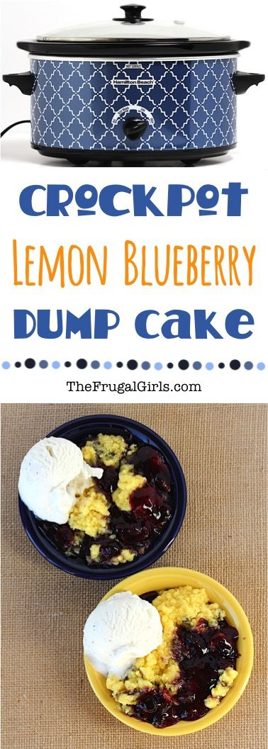 Crock Pot Lemon Blueberry Dump Cake Recipe from TheFrugalGirls.com