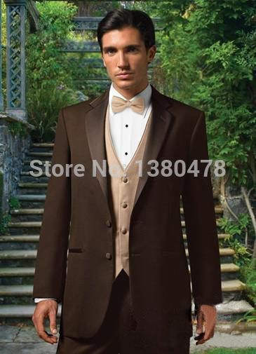>> Click to Buy << 2016 suits Chocolate Notch Lapel Groom Tuxedos Groomsmen Best Man Suit Men Wedding Suits Bridegroom Suit Jacket+Pants+Vest+Tie #Affiliate