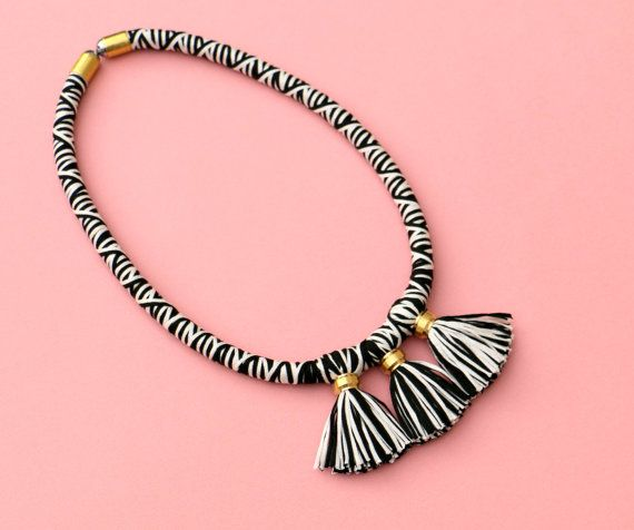 $67.67 Tassel rope necklace black and white with brass fabric by MyBeata