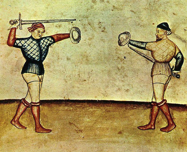 "Tacuina sanitatis (XIV century) Detail of men fencing or dueling ""The Tacuinum (sometimes Taccuinum) Sanitatis is a medieval handbook on health and wellbeing, based on the Taqwim al‑sihha تقويم الصحة (""Maintenance of Health""), an eleventh-century Arab medical treatise by Ibn Butlan of Baghdad."" [Sources: Wikimedia Commons; Wikipedia.org]"