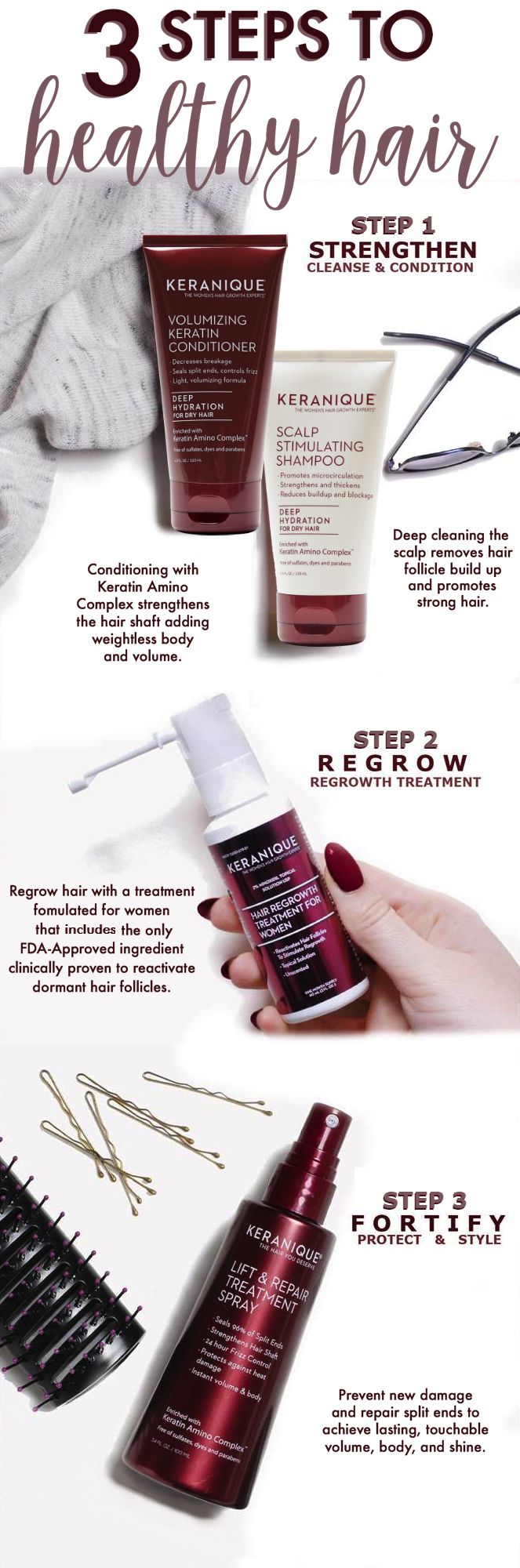 Thicker, fuller, healthier hair is only 3 steps away! The clinically proven Keranique® Hair Regrowth System for $49.95.  Step up your self-care routine to regrow, strengthen, fortify and thicken your hair for the beautiful, full head of hair all women deserve and desire. Over 1 million women have trusted Keranique® to help them fight hair loss, hair thinning and hair breakage. Try this easy to use, comprehensive, three step approach to boost your scalp & hair health today!