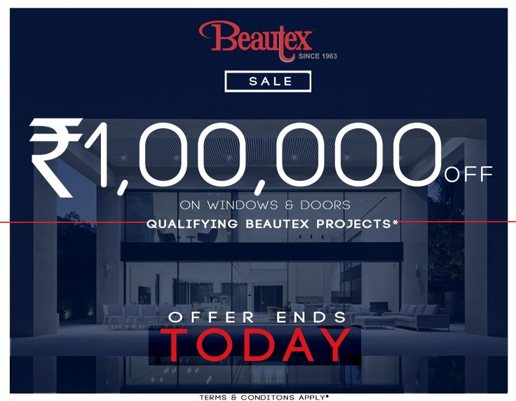 And its the LAST DAY for Beautex's 20 Days Bumper offer sale of Rs. One Lakh off on our Windows and Doors Products! Offer ends today! What are you waiting for? HURRY UP!  ‪#‎2daystogo‬ ‪#‎sale‬ ‪#‎20days‬ ‪#‎onelakhoff‬ ‪#‎windows‬ ‪#‎doors‬ ‪#‎projects‬ ‪#‎beautexluxuryconcepts‬ ‪#‎since1963‬ ‪#‎designer‬ ‪#‎summersale‬