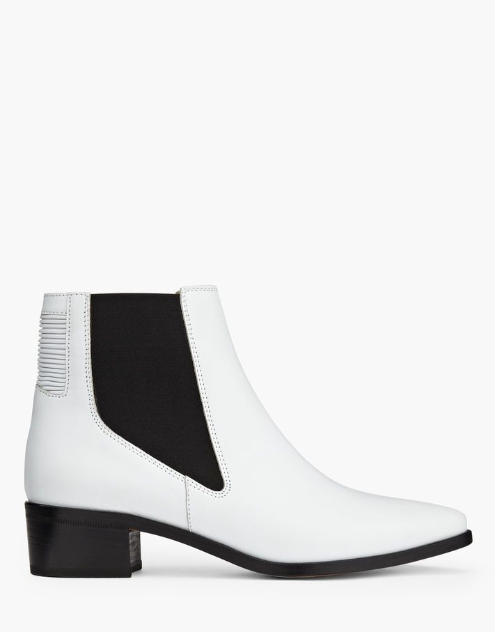 Dartmoor Chelsea Boots. In white leather these Chelsea boots have a pointed toe, ribbed detail and small heel. Shop the Dartmoor Boots from Belstaff UK.