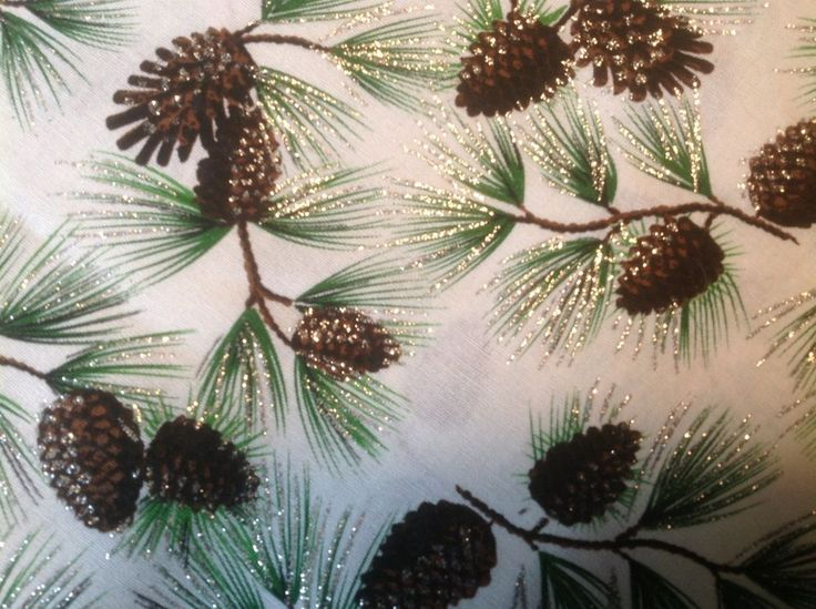 winter fabric pinecone and pine trees1 yard pinecone