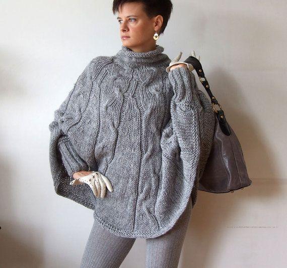 Hand gebreide poncho gevlochten Kaap trui val mode door couvert