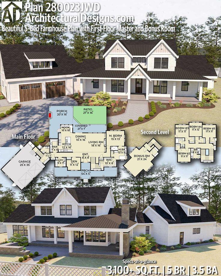 Plan 280023JWD: Beautiful 5-Bed Modern Farmhouse Plan with Angled 2-Car Garage