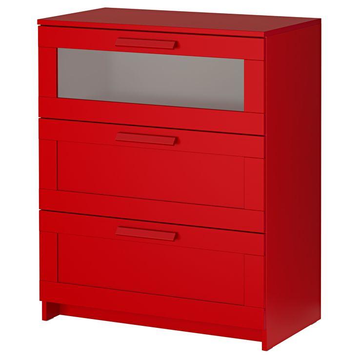 IKEA - BRIMNES, Commode à 3 tiroirs, rouge/verre dépoli, , Les tiroirs sont faciles à ouvrir et à fermer et sont équipés de butées.