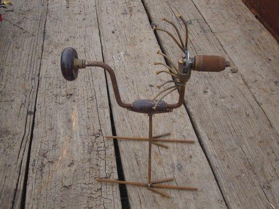 Hand Drill Bird Recycled Garden Art by Junkfx  Don by Junkfx, $40.00