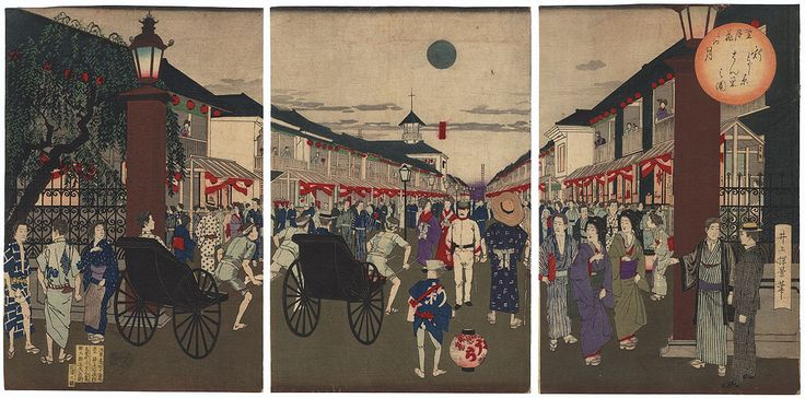 Moon in the Shin-Yoshiwara, 1885 by Meiji era artist (not read)