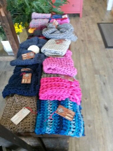 C-works.  Cozy and warm handmade cowls.