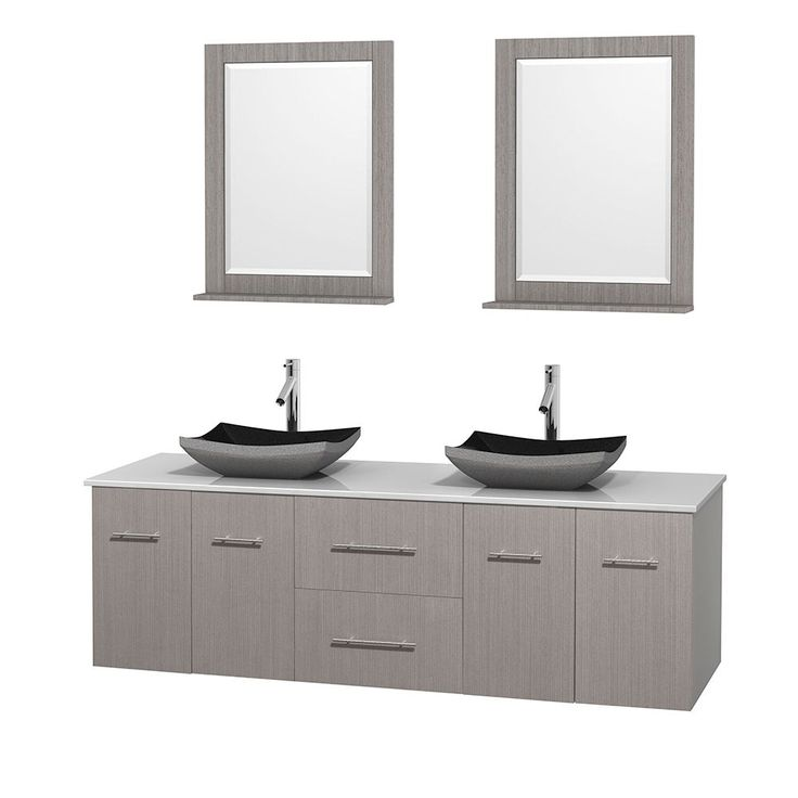 Pics Of Wyndham Collection Centra Grey Oak inch Double White Man made Stone Bathroom Vanity with Mirrors Grey Oak WT StoneTop Avalon Car Sinks Mirs