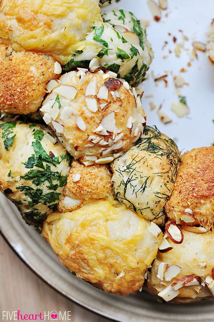 Savory Herb and Cheese Monkey Bread (make with our monkey bread recipe in a bundt pan)