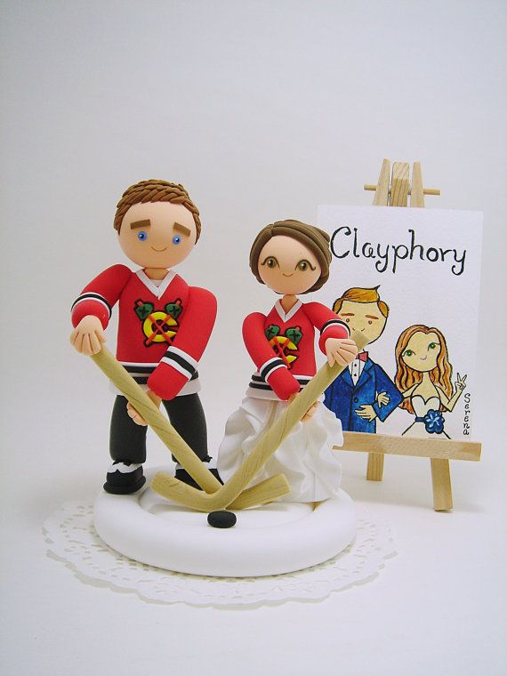 Hockey theme custom wedding cake topper by Clayphory on Etsy