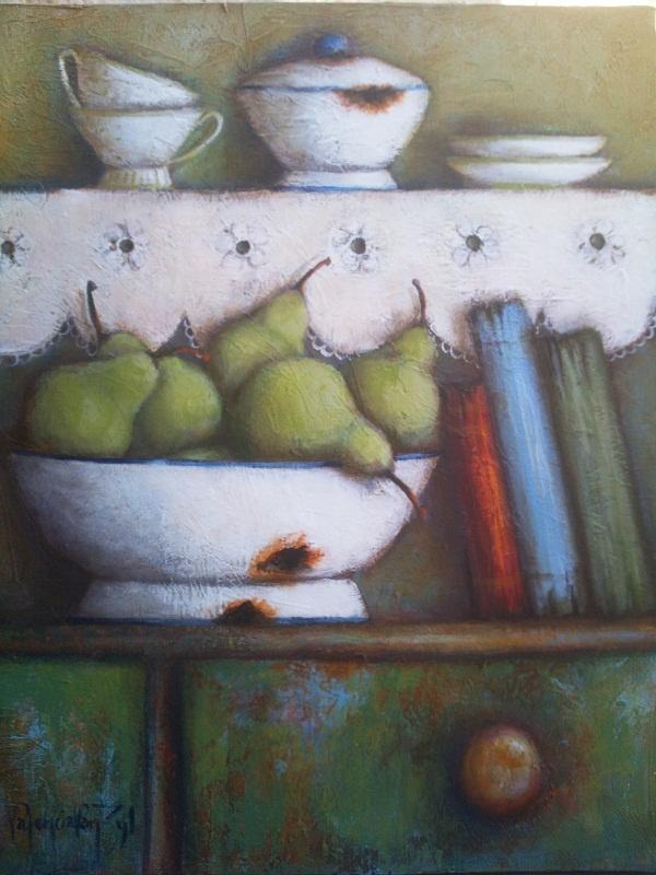 Pears in enamel bowl - Artist Valencia van Zyl