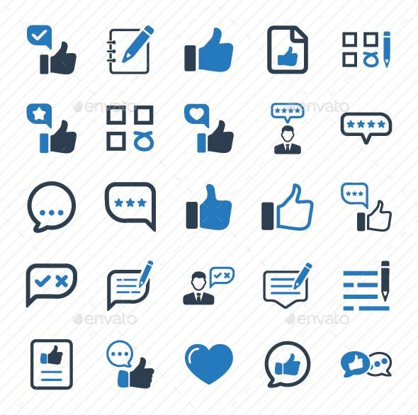Feedback Icons Blue Version Advice Client Customer