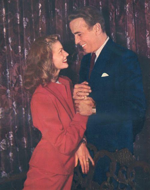 "bettybacallbeauty:  "" Humphrey Bogart and Lauren Bacall - 1945  """