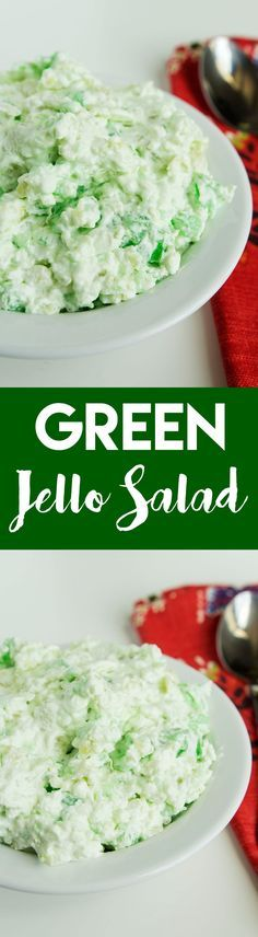 this green jello salad may be a little non-traditional, but it's a great side dish that's perfectly at home at a backyard barbecue or on your holiday table   goldenbrownanddelicious.com
