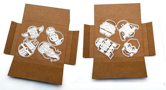 8 Unique Star Wars Themed Cookie Cutters (Biscuit Cutters) Great High quality, 3D Printed by myself in food safe material. You will receive the following unique cookie cookers : Darth Vader Cookie Cutter Storm Trooper Cookie Cutter R2D2 Cookie Cutter C3PO Cookie Cutter BB8 Cookie Cutter Yoda Cookie Cutter Millennium Falcoln Cookie Cutter Chewbacca Cookie Cutter The cookie cutters are approx 80-100mm tall LOOK at my other items for sale for a Star Wars cookie cutter set with a Star War...