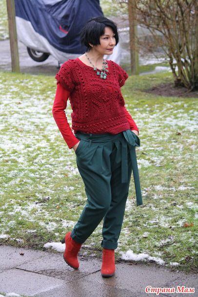 Бордовый жилет и немного фриформа-новый взгляд на прошлые модели - Вязание - Страна Мам