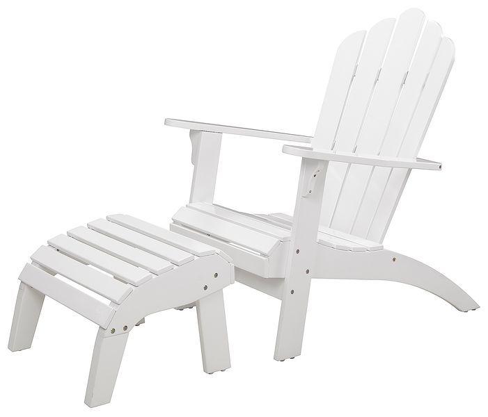 Artwood Adirondack-tuoli - ja jalkarahi, valkoinen