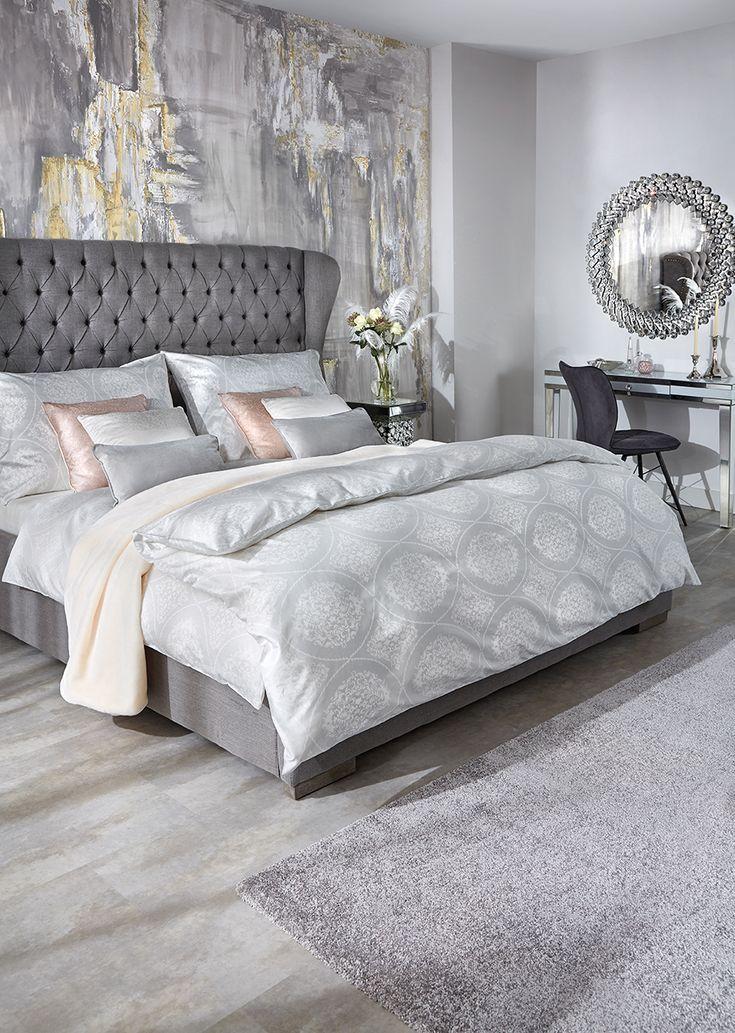 Polsterbett 180 200 Cm In Grau Graues Bett Mit Hoher Kopfleiste
