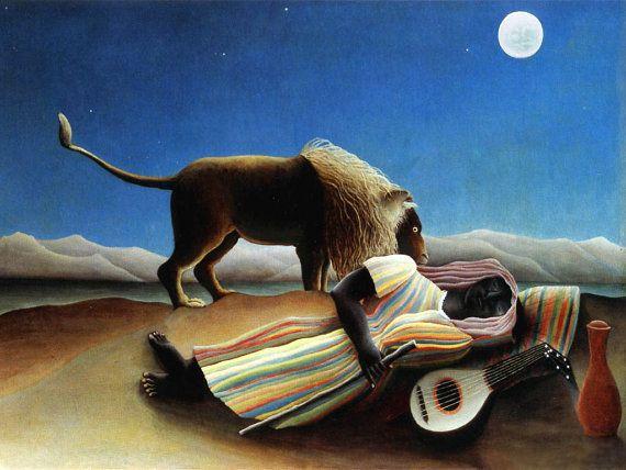 Needlepoint canvas. The Sleeping Gypsy by Henri Rousseau needlepoint.
