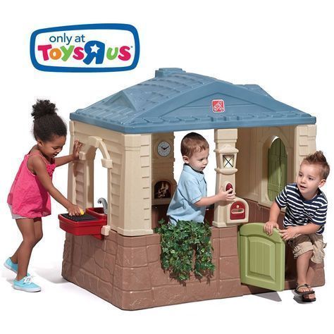 "The Step2 Happy Home Cottage & Grill is a toddler playhouse that features a grill! Little ones can role play grilling, cleaning and welcoming guests into their ""home."" #toddlerplayhouse"
