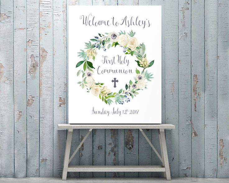 Customized First Holy Communion Sign, Personalized Welcome Sign, Poster, First Communion, Communion Printable, Party Decor, Celebration sign by AdornMyWall on Etsy