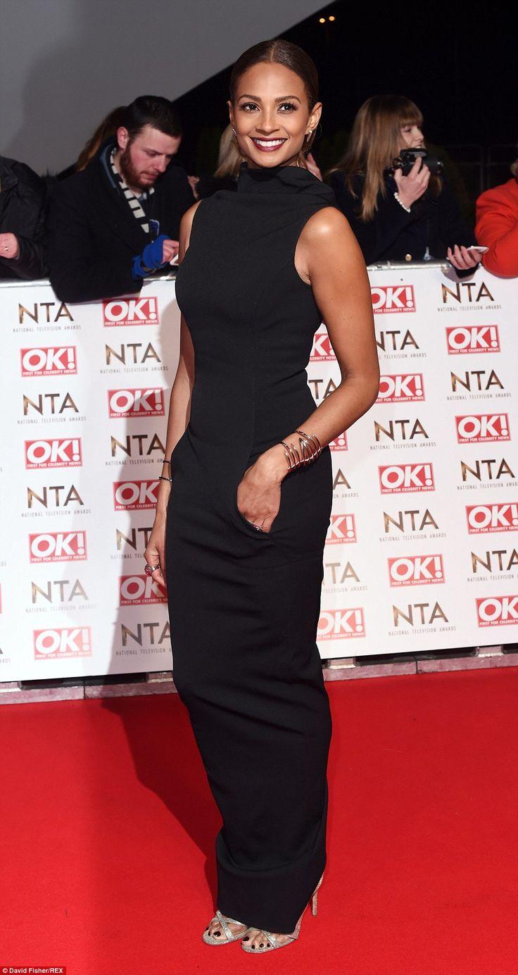 Flawless: Britain's Got Talent judge Alesha Dixon covered up in a high collar column dress...