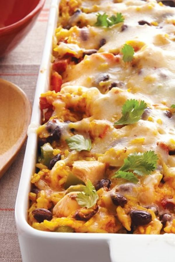 Bake chicken with rice and beans for game day get-togethers!