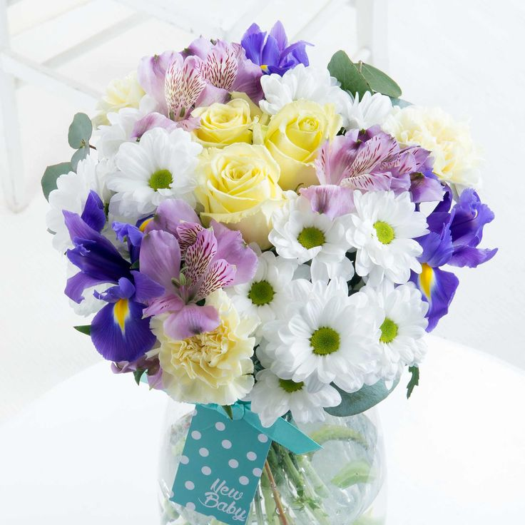 New Baby Boy Bouquet - Celebrate the new arrival with this beautiful bouquet in soft blue, cream and lilac tones - a perfect way of welcoming a new baby boy into the world.