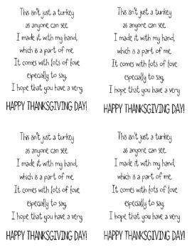 For turkey handprint card craft or art print. 1 page of 1/4 page poems and 1 page of information.