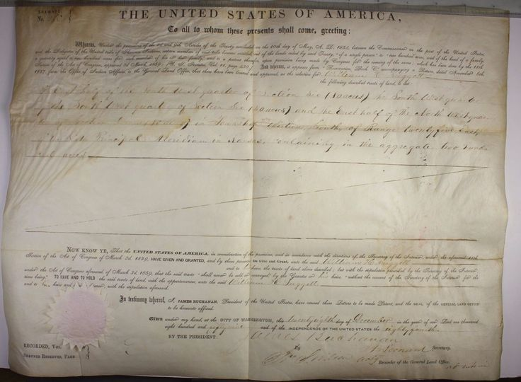 1859 LAND GRANT OF 200 ACRES TO WILLIAM H SUGGETT A SHAWNEE AMERICAN IN KANSAS | eBay $125.00