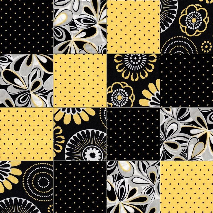 This easy to sew modern, geometric, black, grey and yellow are a great combination for a very nice and unique quilt. Has over stylized flowers in white, yellow, black and gray. There are tiny yellow d