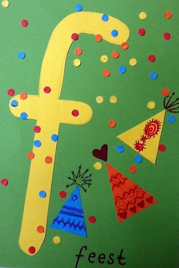 Activiteit voor peuter, bijna 4, bijna naar basisschool. Activiteit voor kleuter. De f is van feest. Materiaal: gekleurd papier, gestanste papiervormen, plakvormen, schaar, perforator, stift,...