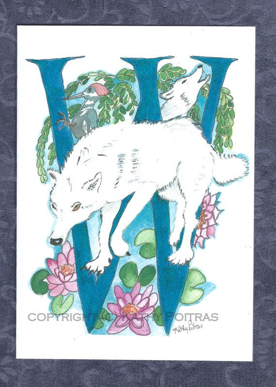 W is for Wolf personalized greeting card by KathyPoitrasArt