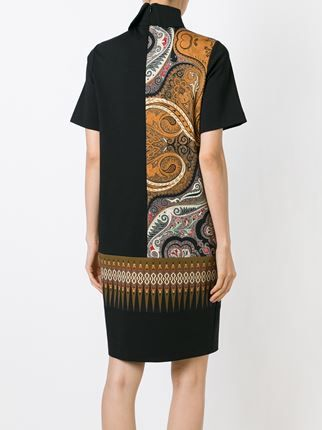 paneled paisley print dress
