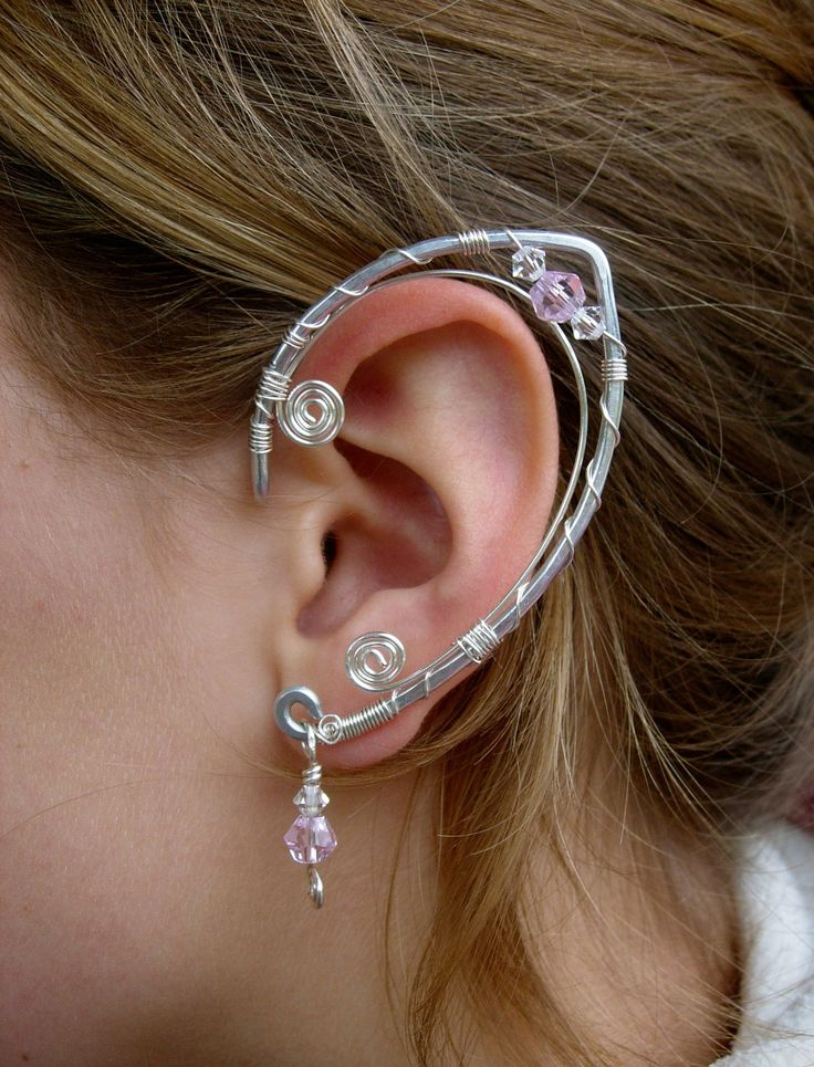 An Elegant  Pair of Elf Ear Cuffs ,Aluminum, Silver and Pink Glass and Clear Swarovski Crystals, Faerie Ear Wraps, Fairy, Elven, Renaissance. Custom order via Etsy.