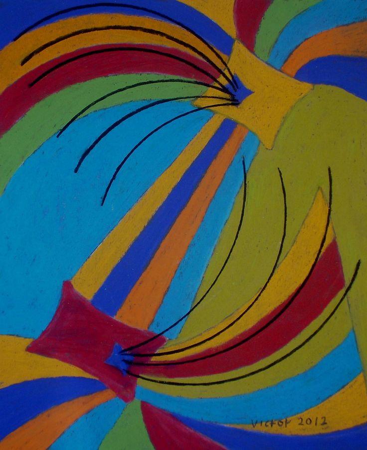 Abstrakt 198, pastell. Abstract 198, pastel.