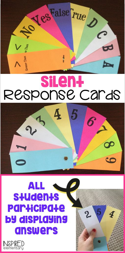 Eliminate student frustration from not being called on and let everyone participate with Silent Response Cards! These double-sided cards can be used with ANY SUBJECT at ANY GRADE LEVEL! My students light up when these come out.