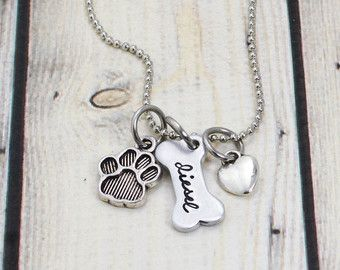 Sterling silver dog bone necklace with dog name for by JustJaynes