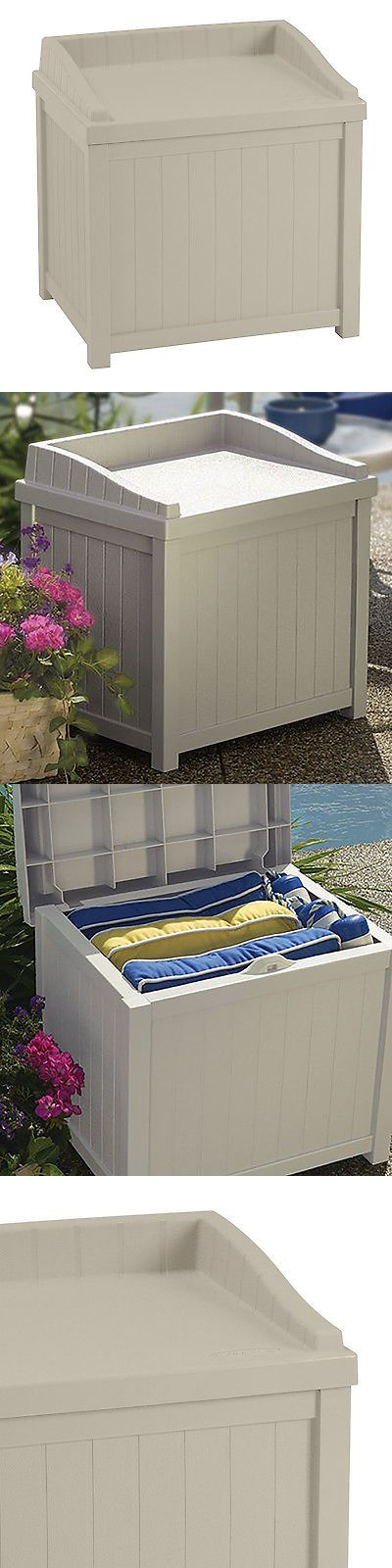Other Patio and Garden Furniture 10035: Suncast 22 Gallon Outdoor Storage Resin Patio Deck Box With Seat, Tan | Ss1000a -> BUY IT NOW ONLY: $42.99 on eBay!